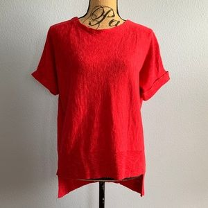 Eileen Fisher Red Short Sleeve Blouse Size M